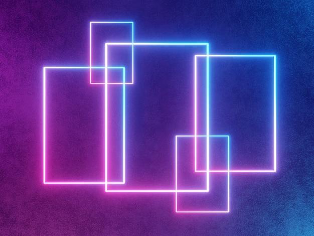 Неоновая светящаяся рамка, прямоугольник абстрактный синий и розовый фон
