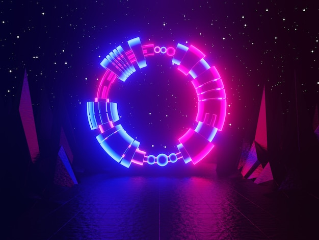 Neon glowing gate portal entrance abstract blue and pink background 3d rendering