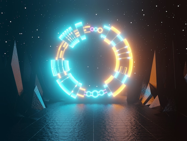 Neon glowing gate portal entrance abstract green and orange background 3d rendering