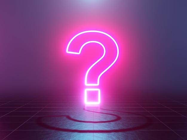 Neon glowing question mark 3d rendering
