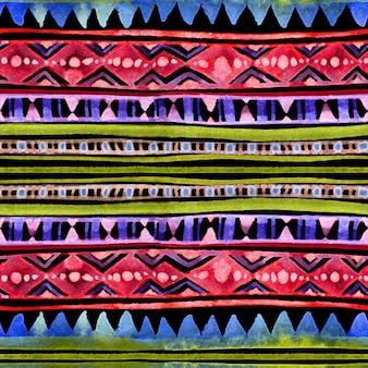 ネオン輝く部族のデザイン。夜の色のパターンとのシームレスな背景。手描きの水彩画