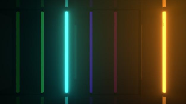 Неоновые галогенные разноцветные лампы радуги светятся футуристическими яркими отражениями d иллюстрации