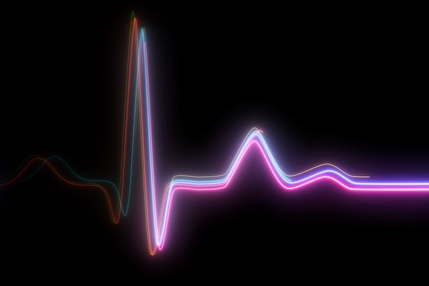 Neon heartbeat on black isolated background