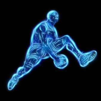 Neon image of a professional basketball player jumping with a ball. creative collage, sports flyer. basketball concept, sport, game, healthy lifestyle. copy space, 3d illustration, 3d render.