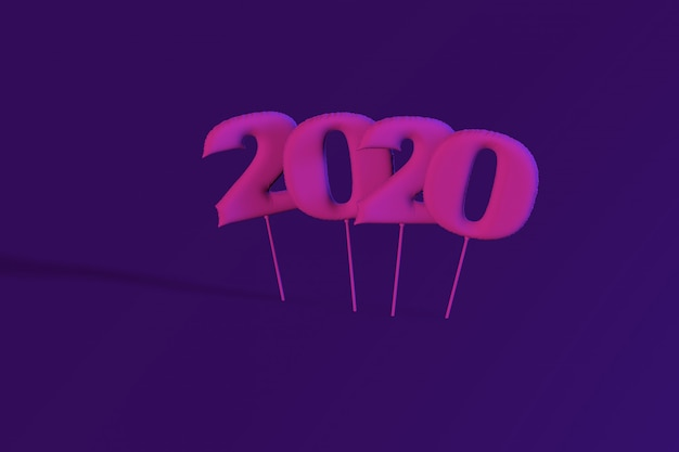 Neon inflatable figures 2020. balloons. new year. 3d render, illustration.