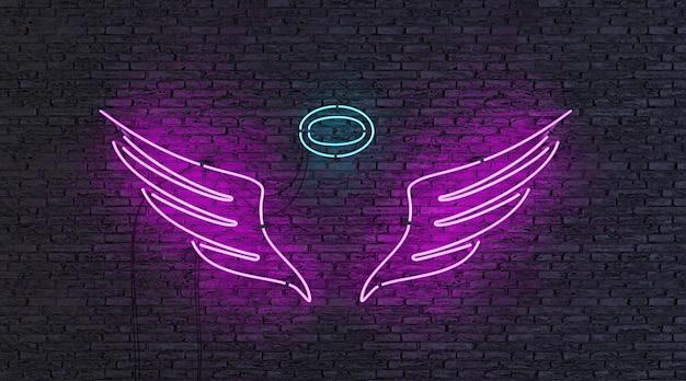 벽돌 벽에 천사 모양의 네온 램프