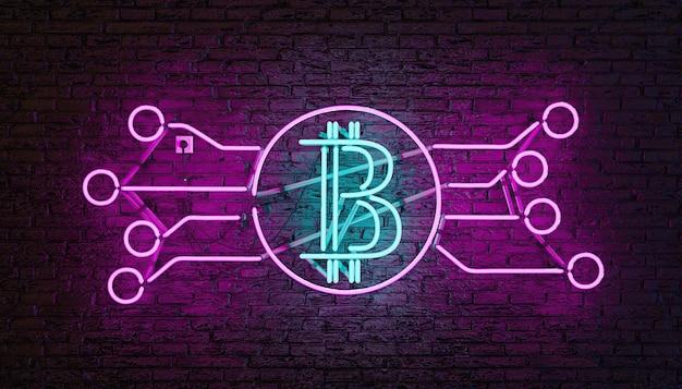 Bitcoin 로고가있는 네온 램프가 벽돌 벽에 파란색과 분홍색으로 조명