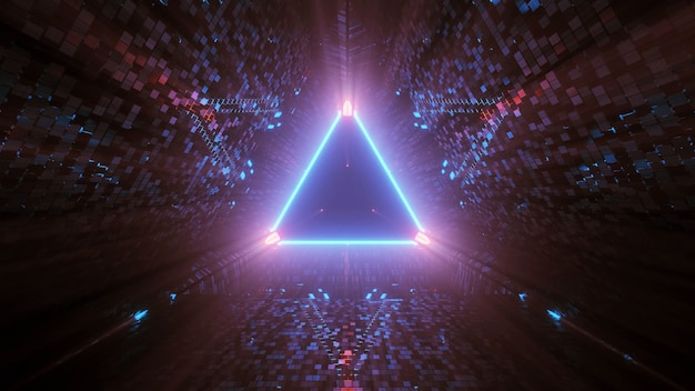 검정색 배경의 삼각형 모양의 네온 레이저 조명