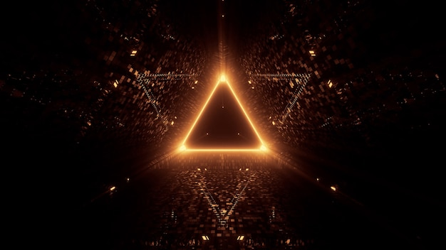 Neon laser lights in a triangular shape with a black background