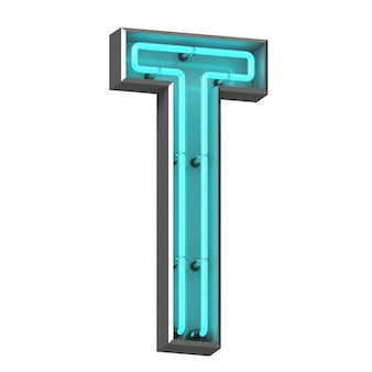 Neon letter t on white background