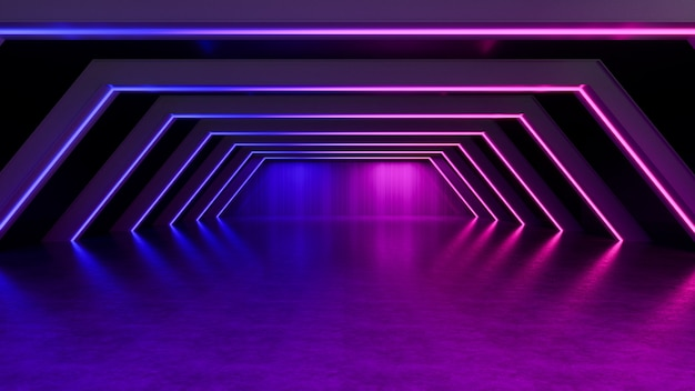 ネオンの光、抽象的な未来的な背景、紫外線の概念、3 dのレンダリング