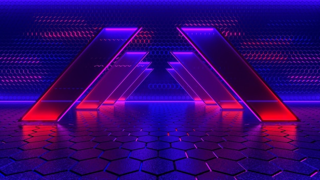 Neon light, abstract futuristic background, ultraviolet concept, 3d render