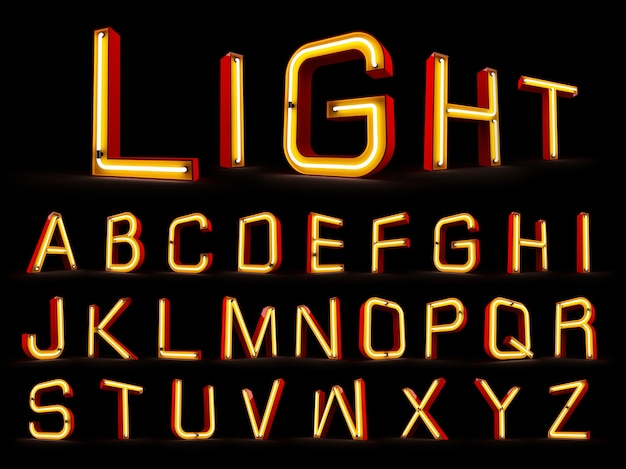 Neon light alphabet 3d rendering on black background
