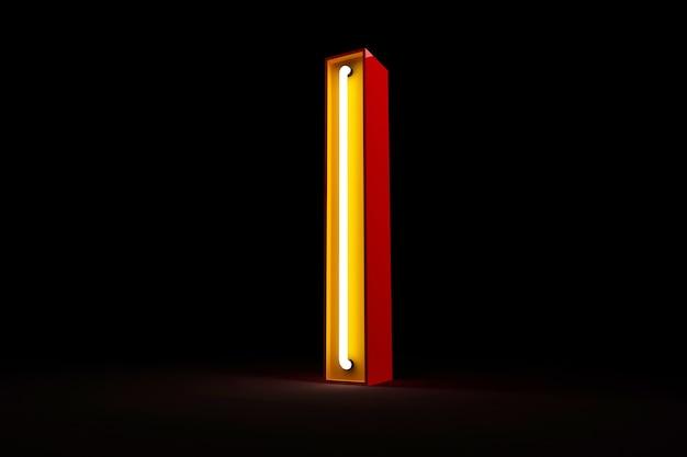 Neon light alphabet 3d rendering on black background