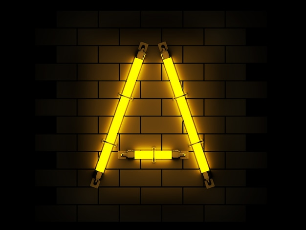 Neon light alphabet 3d rendering on brick background with clipping path