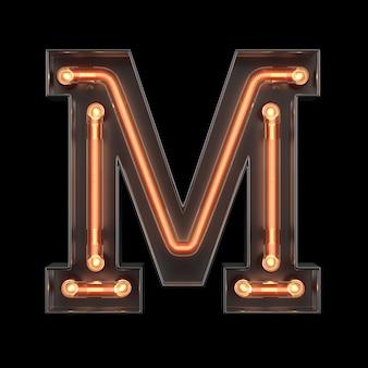 Neon light alphabet m