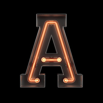 Neon light alphabet a