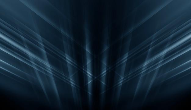 네온 불빛과 레이저 쇼. 어두운 배경에 미래형 레이저 모양. 블루 네온 불빛, 대칭 반사