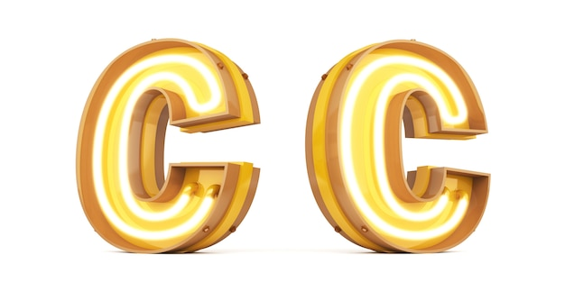 Neon light digital alphabet 3d rendering on white background with clipping paths