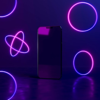 Neon light geometric shapes with phone