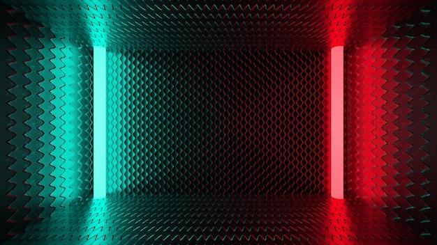 Neon light green red dark metal 3d render