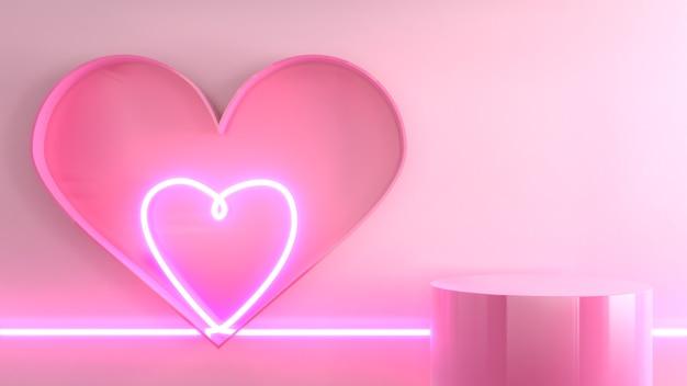Neon light heart pink background image, mockup for product presentation, 3d rendering