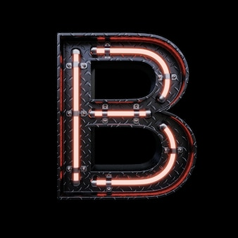 Neon light letter b with red neon lights.
