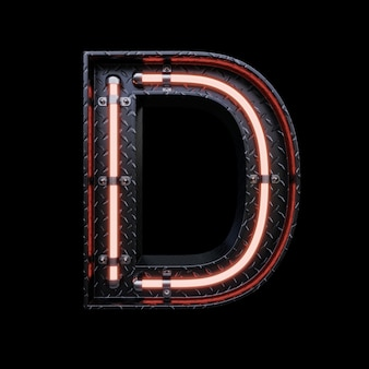 Neon light letter d with red neon lights.