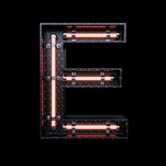 Neon light letter e with red neon lights.