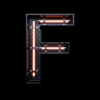 Neon light letter f with red neon lights.