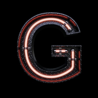 Neon light letter g with red neon lights.