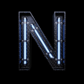 Neon light letter n with blue neon lights.