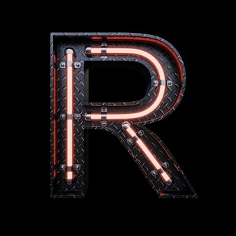 Neon light letter r with red neon lights.