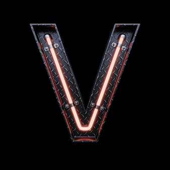 Neon light letter v with red neon lights.