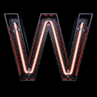 Neon light letter w with red neon lights.