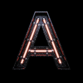 Neon light letter a with red neon lights.