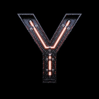 Neon light letter y with red neon lights.