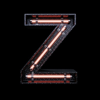 Neon light letter z with red neon lights.
