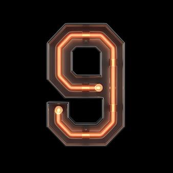 Neon light number 9