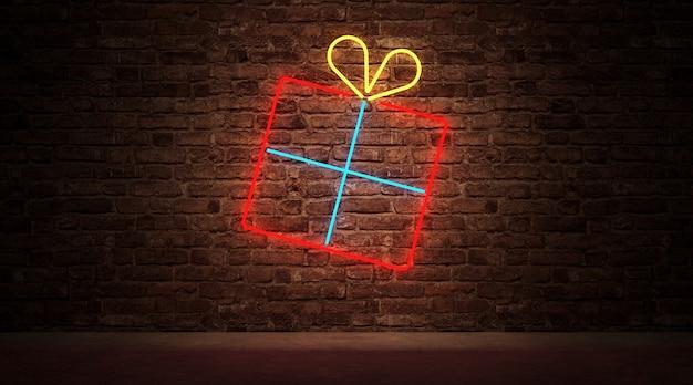 벽돌 벽에 선물 상자 기호의 네온 불빛