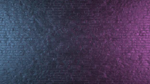 Неоновый свет на кирпичной стене и текстуре. 3d иллюстрации.