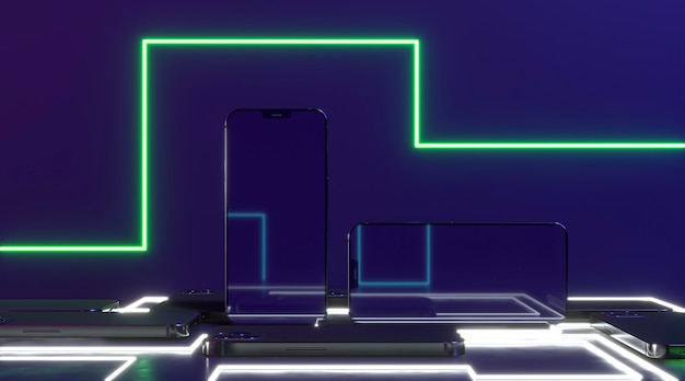Neon light and smartphones arrangement