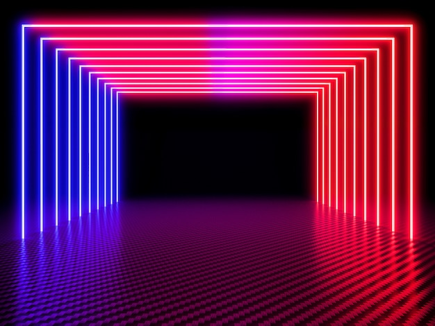 Neon light tunnel on carbon fiber background