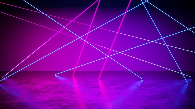 Neon light  with blackground, and concrete floor, ultraviolet , 3d render