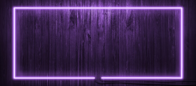 Neon light on wooden wall background.