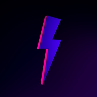 Неоновая молния значок. 3d рендеринг элемента интерфейса ui ux. темный светящийся символ.