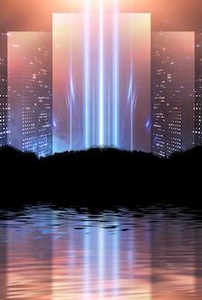 暗い地平線と水の背景に反射する空のネオンライト