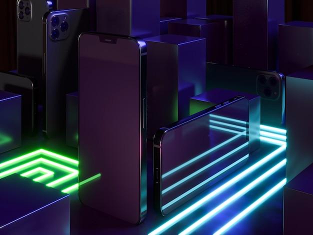 Disposizione di luci al neon e telefoni