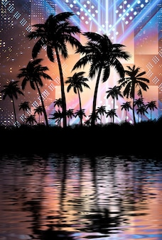 ヤシの木と水の背景の反射とネオンライト