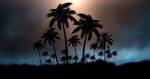 ヤシの木の背景とネオンライト